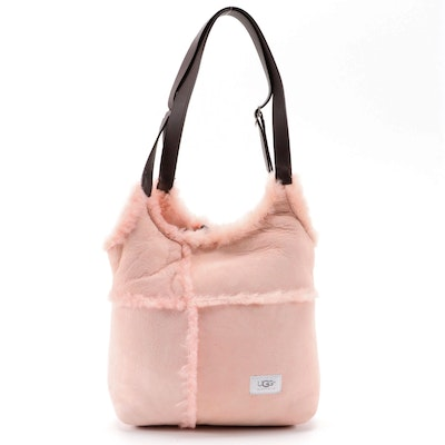 UGG Australia Pink Sheepskin Suede and Shearling Shopper Bag with Leather Pouch