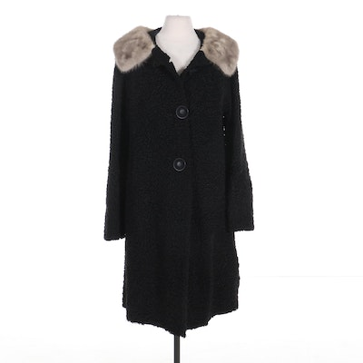 Black Persian Lamb Fur Coat with Grey Mink Fur Collar, Mid-20th Century