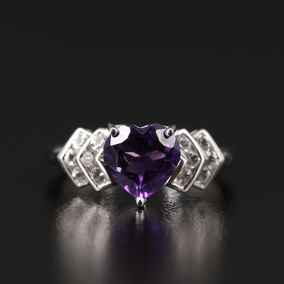 10K Amethyst and Topaz Heart Ring
