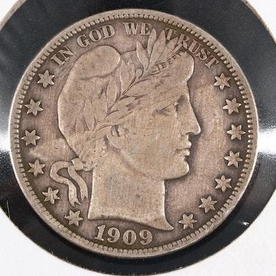 1909-S Barber Silver Half Dollar