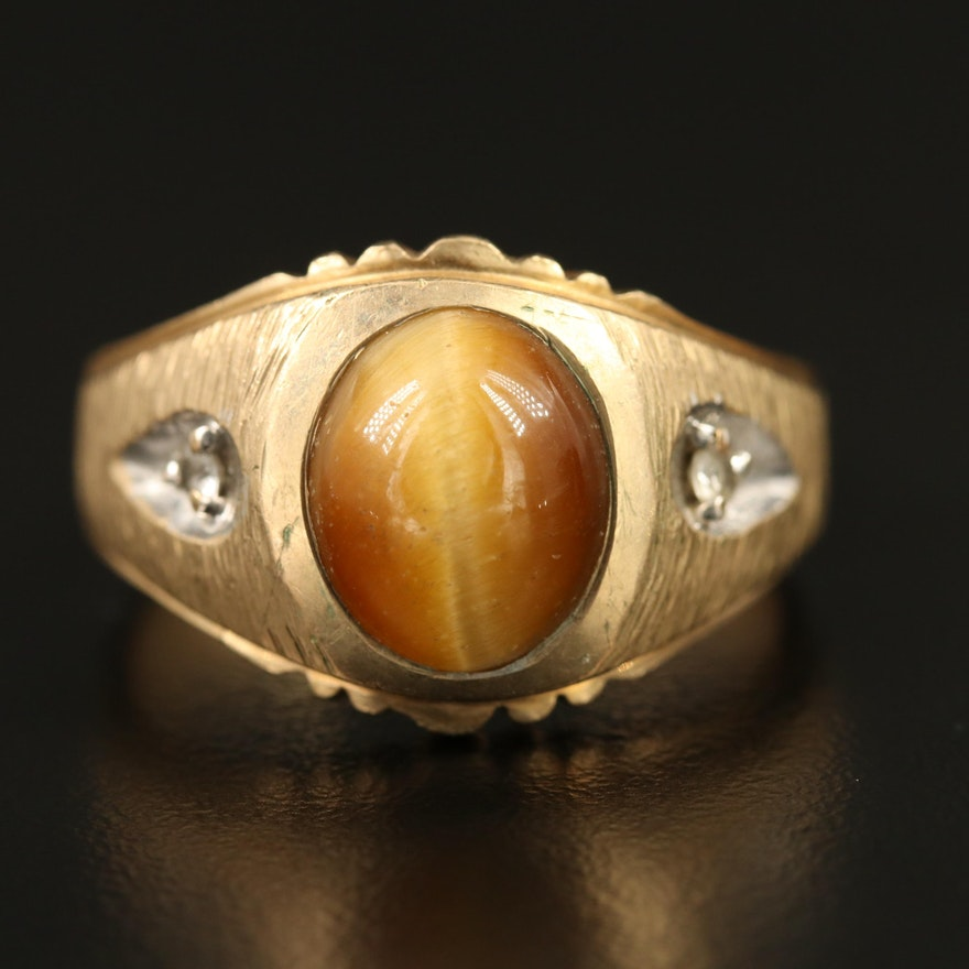 10K Tiger's Eye and White Spinel Ring