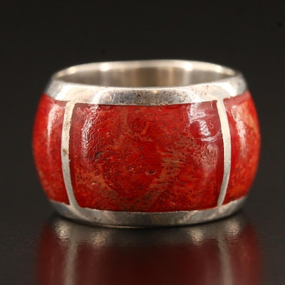 Coral Inlay Band in Sterling