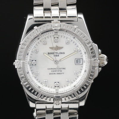 "Breitling ""Callisto"" Diamond and MOP Dial Stainless Steel Quartz Wristwatch"