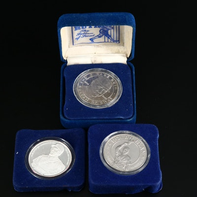 Nolan Ryan, Babe Ruth and .999 Fine Silver Michael Jordan Commemorative Rounds
