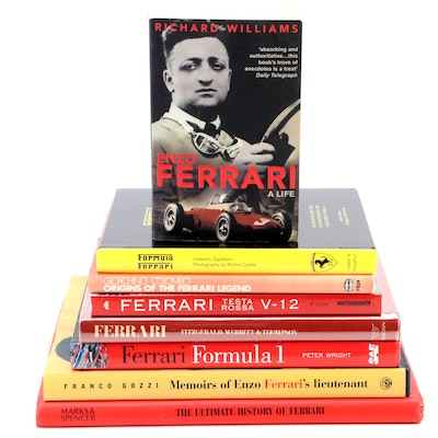 "First Edition ""Memoirs of Enzo Ferrari's Lieutenant"" with Other Ferrari Books"