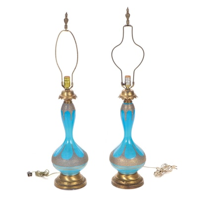 Pair of Mid Century Modern Gilt Aqua Glass and Brass Table Lamps