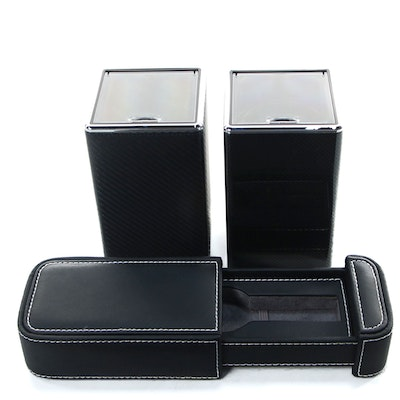 Pair of Carbon Fiber Metal Watch Winders with Faux Leather Watch Case