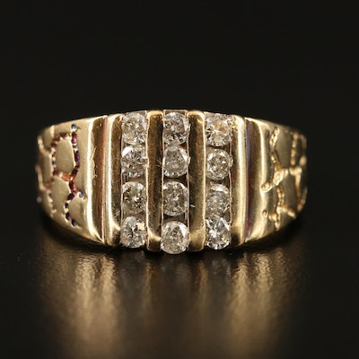 10K Diamond Multi-Row Band