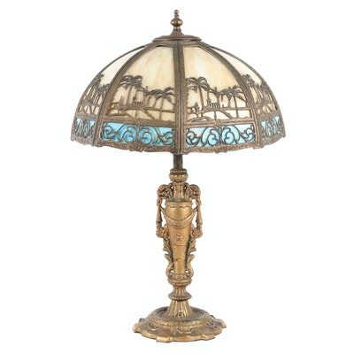 Gilt Metal Victorian Table Lamp with Slag Glass Shade