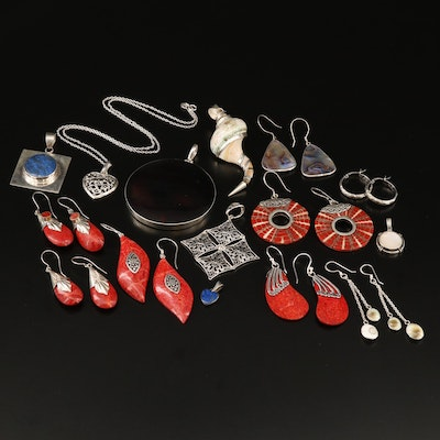 Sterling Necklace, Pendants and Earrings Including Shell, Coral and Lapis Lazuli