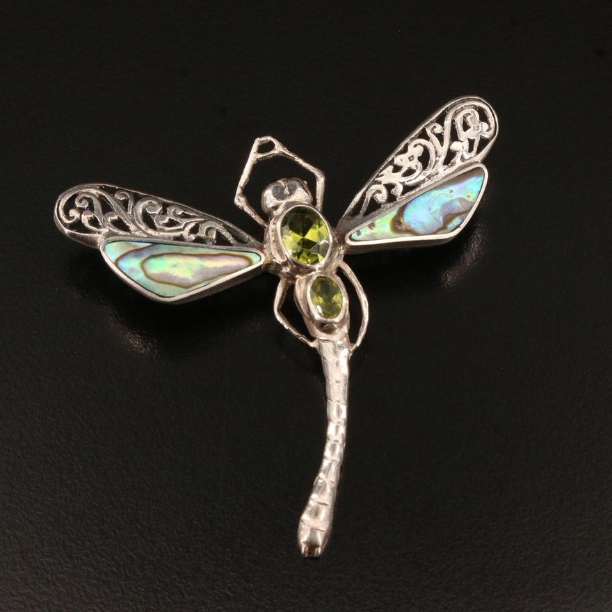 Sterling Silver Peridot and Abalone Dragonfly Converter Brooch