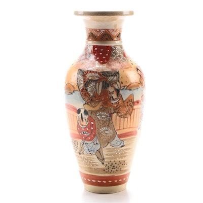 Japanese Satsuma Ceramic Baluster Vase with Moriage Accents, 20th Century