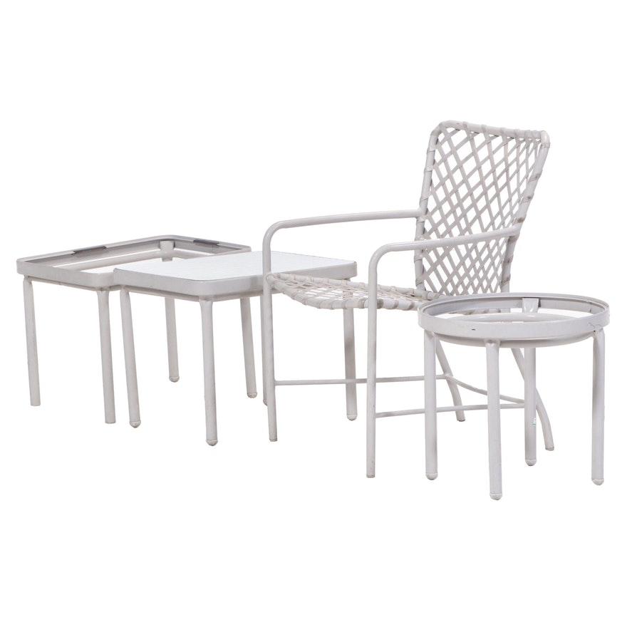 Metal and Woven Synthetic Patio Chair with Side Tables, Late 20th Century