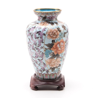 Chinese Floral Motif Cloisonné  Vase with Wood Base, Late 20th Century