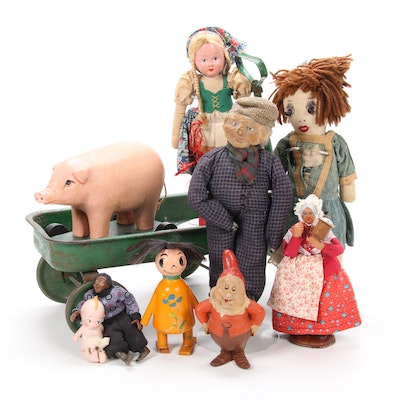 """""""Scary Ann"""" Wood Toy with Walt Disney Chalkware, Toys, Dolls, and Figurines"""