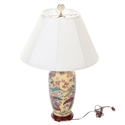 East Asian Style Floral Porcelain Table Lamp with Wood Base