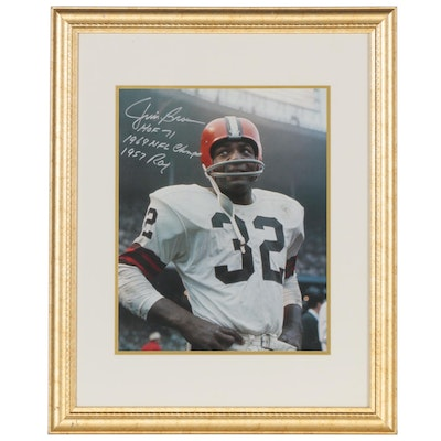 "Jim Brown Signed ""1957 ROY,"" ""1964 NFL Champs,"" and ""HOF 71"" Framed Print, PSA"