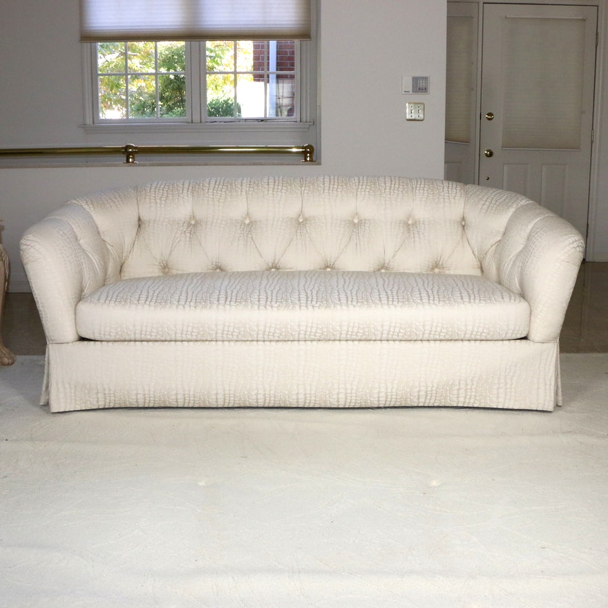 Reptile Pattern Tufted Upholstered Sofa, Late 20th Century