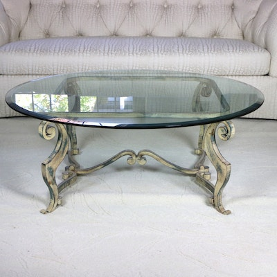 Regency Style Metal and Glass Coffee Table