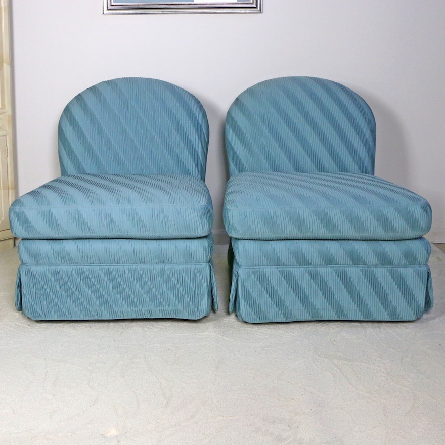 Pair of Hickory Kay Lyn Upholstered Slipper Chairs, Late 20th Century