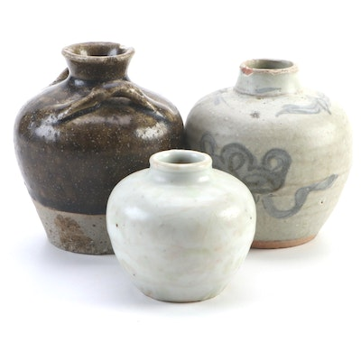 Hand-Thrown Ceramic Jug and Bud Vases