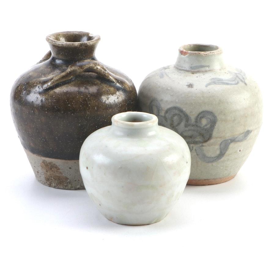 Hand-Thrown Ceramic Jug and Bud Vases