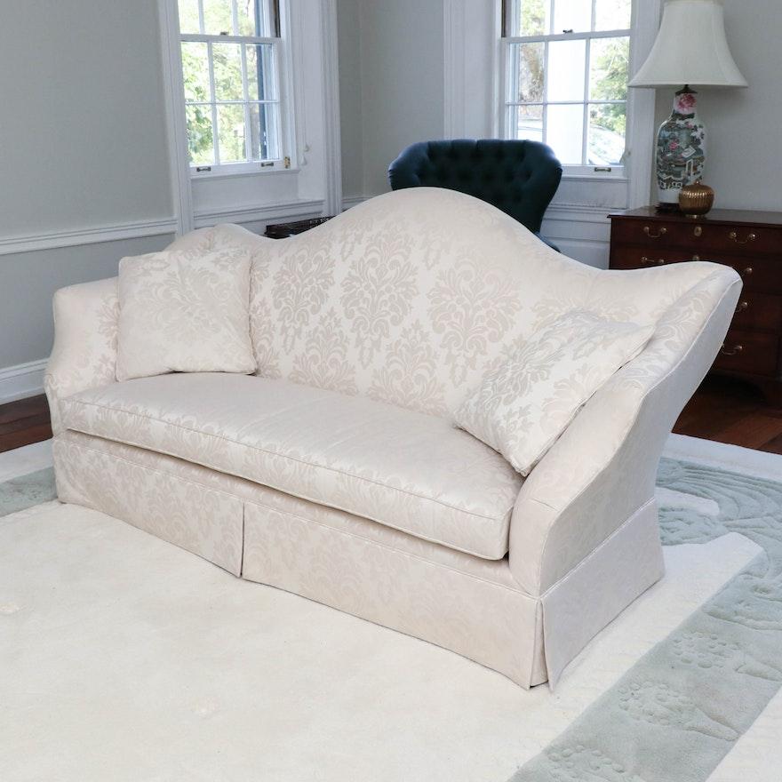 David A. Millett Damask Upholstered Camelback Sofa