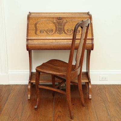 Art Nouveau Carved Oak Secretary with Side Chair, circa 1900