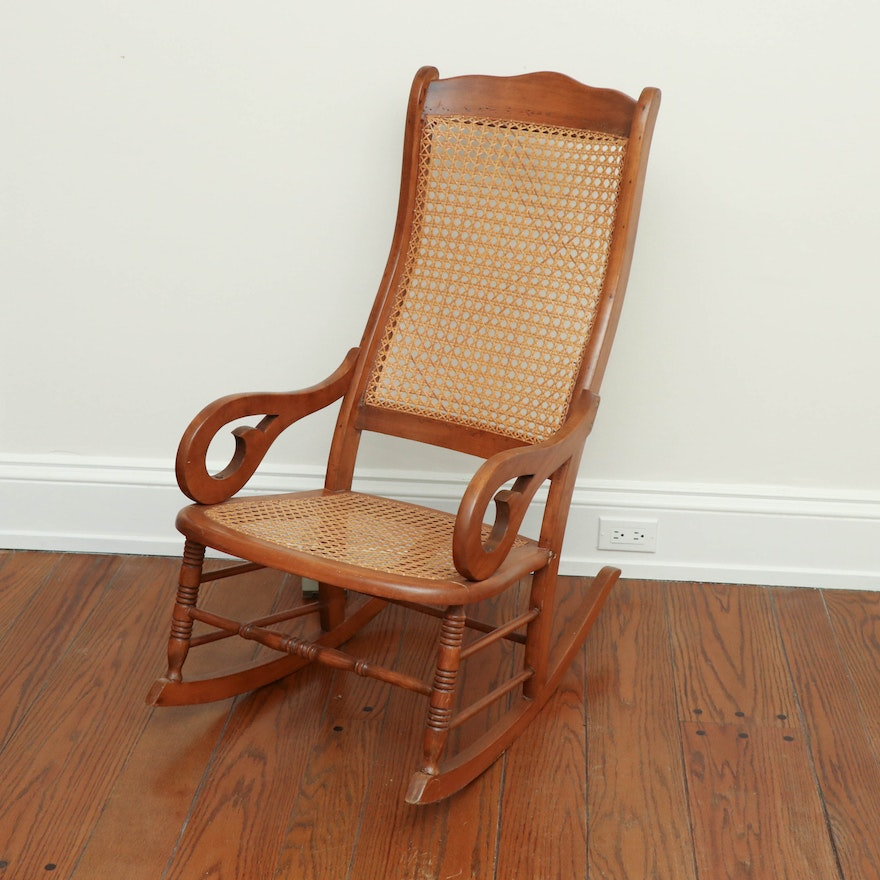 Victorian Walnut and Cane Rocking Chair, Late 19th Century