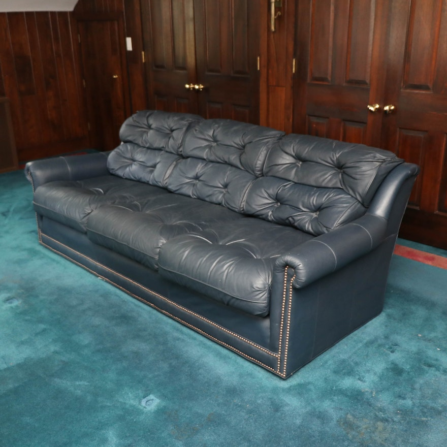 Hickorycraft Button Tufted Leather Sofa with Nailhead Trim