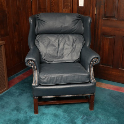 Hickorycraft Navy Leather Wingback Armchair with Nailhead Trim