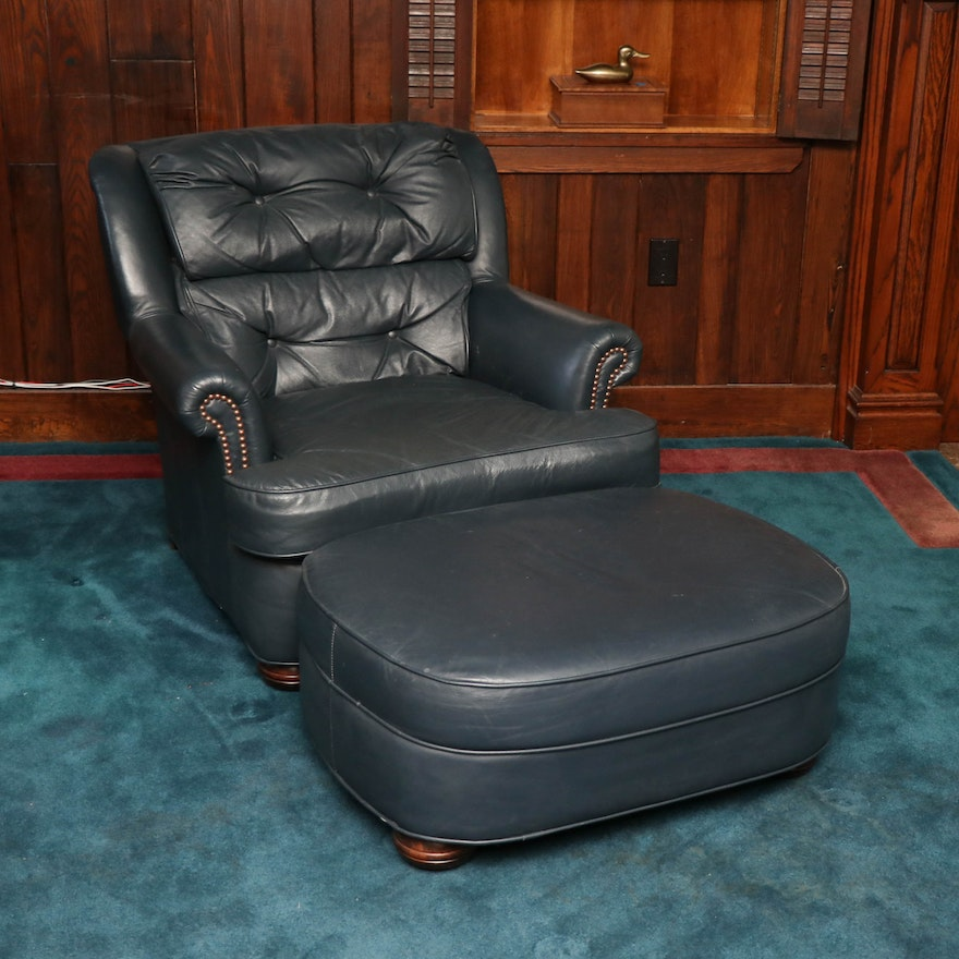 Hickorycraft Navy Tufted Leather Armchair and Ottoman