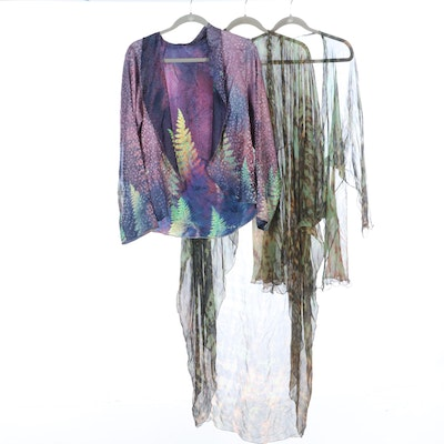 Patterned Sheer Silk Cover-Ups and Opaque Jacket