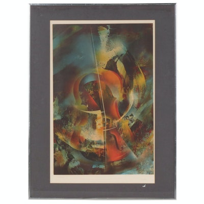 Leonardo Nierman Color Lithograph of Abstract Violin