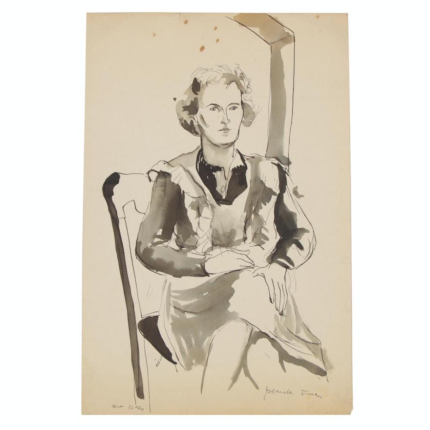 """Yolanda Fusco Ink Wash Figure Painting """"Mrs. Daly"""""""