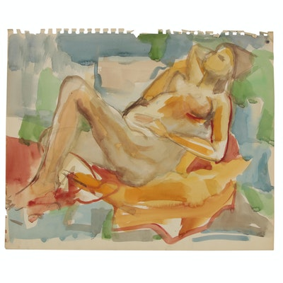 Yolanda Fusco Watercolor Figure Painting, Mid to Late 20th Century
