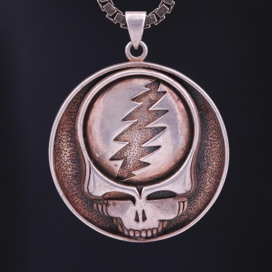 "Sterling Silver Grateful Dead ""Lightning Skull"" Pendant Necklace"