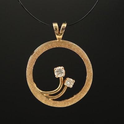 14K Diamond Floral Pendant