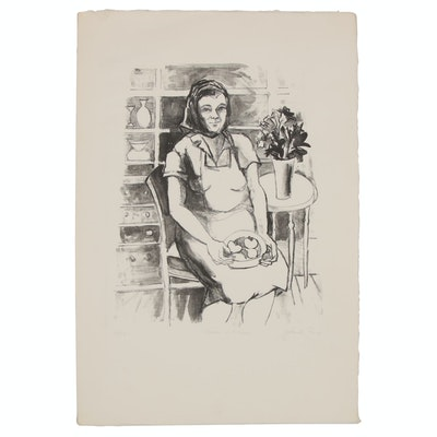 "Yolanda Fusco Figurative Lithograph ""Woman in Kitchen"", Mid to Late 20th Century"