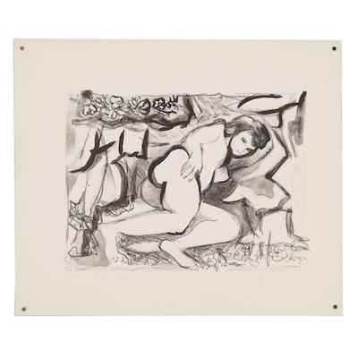 "Yolanda Fusco Figurative Lithograph ""Reclining Figure"", Mid to Late 20th Century"