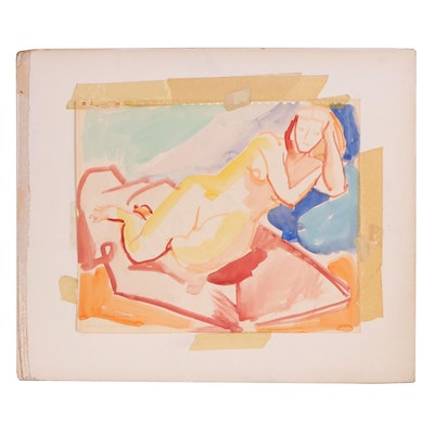 Yolanda Fusco Watercolor Reclining Figure Painting, Mid to Late 20th Century