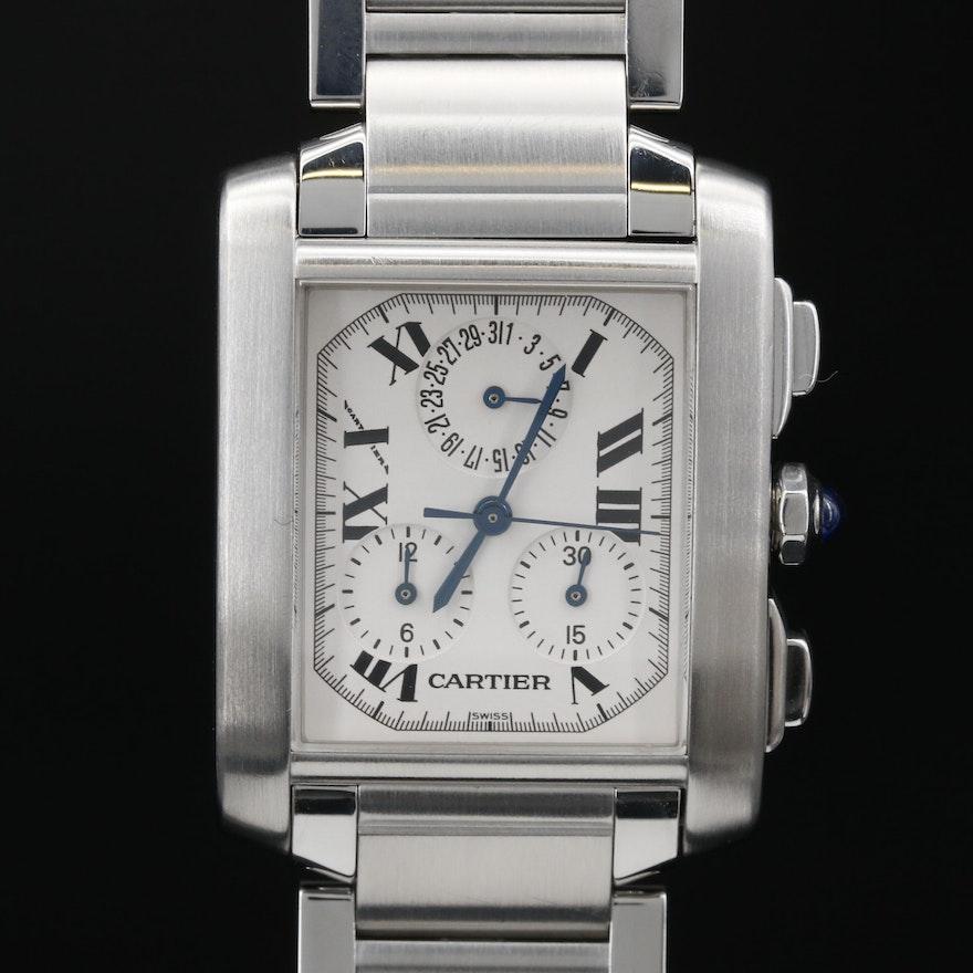 "Cartier ""Tank Francaise Chronoflex"" Stainless Steel Quartz Wristwatch"