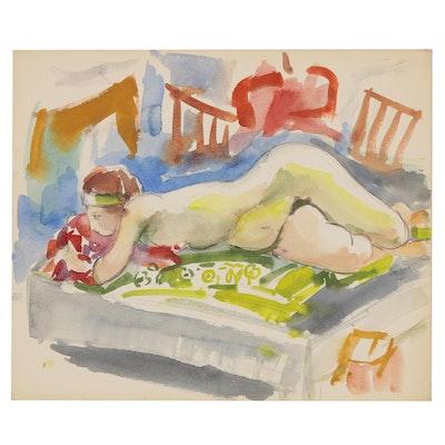 Yolanda Fusco Reclining Figure Watercolor Painting, Mid to Late 20th Century