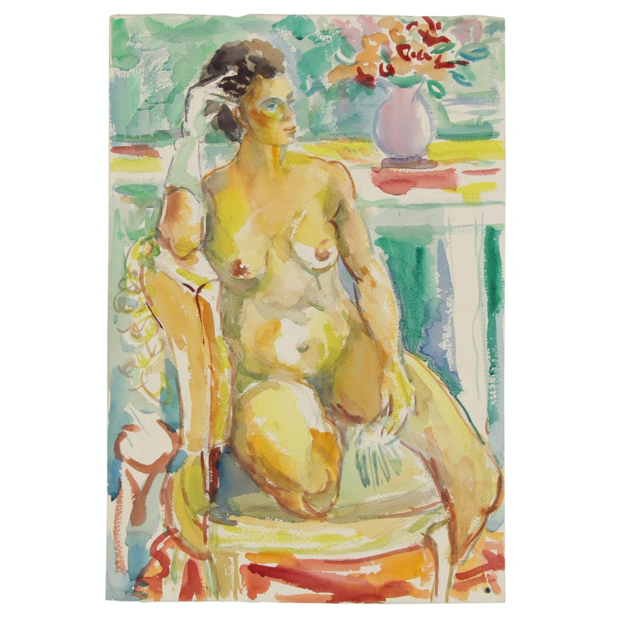 Yolanda Fusco Watercolor Figure Painting of Female Nude