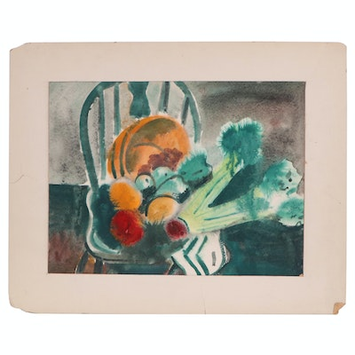 Still Life Watercolor Painting, Mid to Late 20th Century