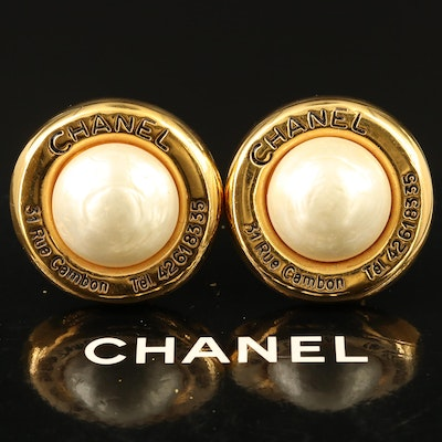 Vintage Chanel Rue 31 Cambon Clip Earrings with Box
