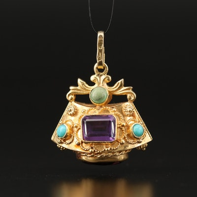 Etruscan Style 18K Amethyst and Turquoise Pendant