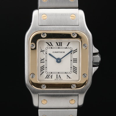 Cartier Santos 18K Gold and Stainless Steel Quartz Wristwatch