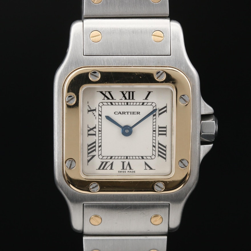 Cartier Santos 18K Gold and Stainless Steel Quartz Wristwatch