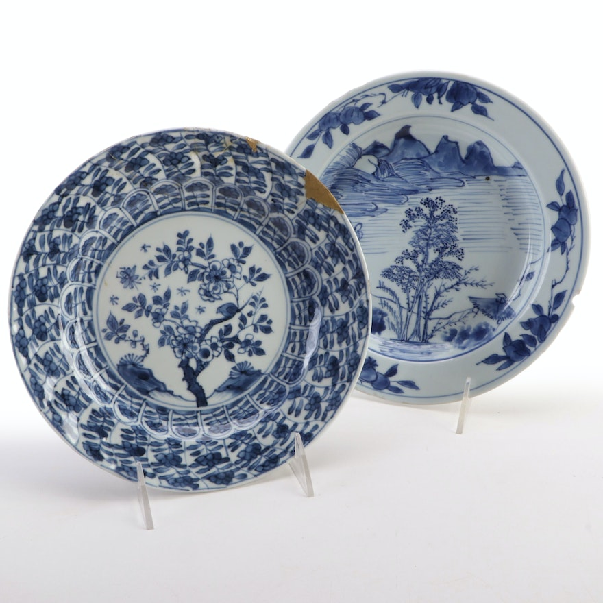 Japanese Kintsugi Repair and Other Hand-Painted Porcelain Plate, Antique